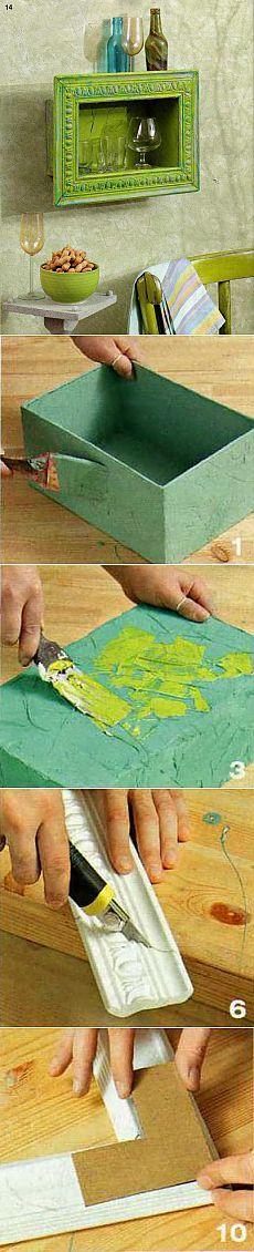 Глубокая полка из картонной коробки.  Материалы:   Плотная обувная коробка. Шпаклевка Клей ПВА Латексная краска. Колеровочные составы для краски Широкий молдинг Серебрянка в порошке. Клей для потолочных плит или универсальный клей Картон  Инструменты:  Макетный нож, мебельный степлер, шпатели стусло.