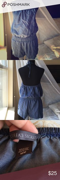 ✨Final Price✨Victoria's Secret Denim Romper Perfect condition never worn. Straight out of the packaging. Denim look made out of lyocell. Adjustable chest and neck line. Has two front pockets. Very light and comfy. Victoria's Secret Other