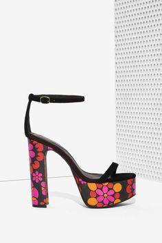 Jeffrey Campbell Sabine Suede Platform - Floral - Shoes | Open Toe | Heels | Jeffrey Campbell