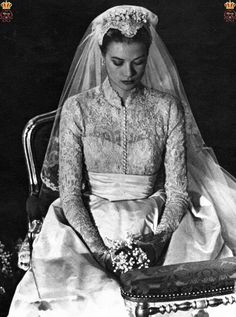 The Wedding of the Century in Monaco ~ Grace Kelly wed HSH Rainier III, Prince of Monaco on April 19, 1956.