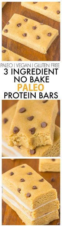 Healthy 3 Ingredient No Bake Protein Bars which take five minutes and have NO nuts, sweeteners or sugar! {vegan, gluten free, paleo recipe}- http://thebigmansworld.com