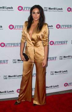Shay Mitchell's Outfit 'Gram Looks Flawless at First, but Her Hilarious Caption Reveals the Truth Shay Mitchell Style, Spencer Hastings, Satin Blouses, Celebs, Celebrities, Celebrity Style, Sexy Women, Stylish, How To Wear