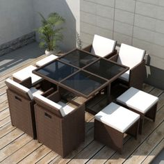 9 Piece Outdoor Dining Set with Cushions Poly Rattan Brown (Brown), LivEditor(Leather), Outdoor Seating - Modern Design Garden Dining Set, Garden Table And Chairs, Outdoor Dining Set, Patio Dining, Outdoor Seating, Outdoor Living, Sofa Lounge, Lounge Set Rattan, Rattan Garden Furniture Sets