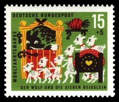 goats and 7 kids stamp