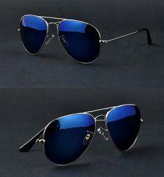 2edef73c4e Full Blue Mirrored Aviator Sunglasses Dark Tint Lens Silver Frame UV400  BNWT Style Vintage