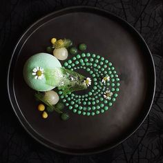 White chocolate and matcha mousse matcha jelly granny smith apple and longan compote and passionfruit curd by @lvin1stbite Tag your best plating pictures with #armyofchefs to get featured. #chocolate #matcha #apple #passionfruit #dessert #pastry #plating #chefs