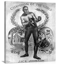 Solid-Faced Canvas Print Wall Art Print entitled Jack Johnson, Heavyweight Champion of the World, Vintage Poster Abstract Canvas, Abstract Print, Vintage Prints, Vintage Posters, Vintage Canvas, Jack Johnson Boxer, Boxing Posters, World Boxing, Boxing History