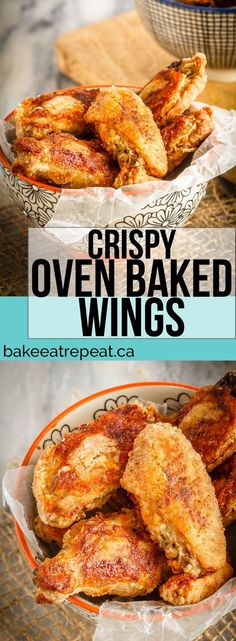 These oven baked wings are super crispy and so easy to make. Toss them with you. These oven baked wings are super crispy and so easy to make. Toss them with your favourite sauce for perfect wings that are baked instead of fried! Best Chicken Recipes, Turkey Recipes, Breaded Chicken Wings, Oven Baked Wings, Crispy Oven Wings, Easy Baked Chicken Wings, Oven Roasted Chicken Wings, Baked Turkey Wings, Chicken Skewers
