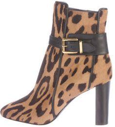 Balmain Leopard Print Ponyhair Ankle Boots