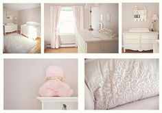 Baby girl nursery colors - pale pinkish/coral, champagne and white...those are my colors for sure!