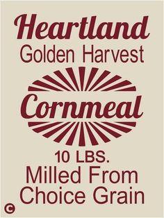 Primitive Stencil. HEARTLAND CORNMEAL Vintage Advertising Kitchen Feed Sack   #AmericanaPrimitiveStencils