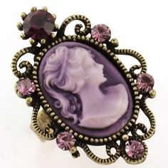 Antique Gold Vintage Style Cameo Ring Lady Purple Amethyst Stone Crystal Classic | eBay