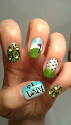 golf nail art  | So,here is my take on fathers day nails.