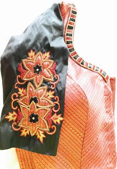 Orange Saree, Orange Blouse, Sleeve Designs, Blouse Designs, Black Saree Blouse, Bridal Sarees South Indian, Cut Work, Beautiful Blouses