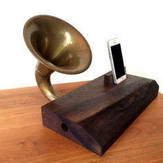 This iPhone Horn Speaker is made by Brawley Made using reclaimed wood and a horn discovered at the Rose Bowl Flea Market in Los Angeles, CA. Rose Bowl Flea Market, Horn Speakers, Floating Nightstand, Vinyl Records, Acoustic, Horns, Home Goods, Iphone, Wood