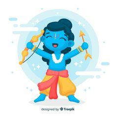 Rama character with arrow and bow Free Vector Cute Krishna, Krishna Art, Indian Illustration, Car Illustration, Rama Lord, Diwali Poster, Small Buddha Statue, Arrow Painting, Ram Image