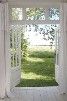 Back doors to deck. Front & back doors on little cottage Chris & I are going to build on the lot. Doors to studio/office Future House, My House, Farm House, Foster House, Windows And Doors, Transom Windows, Country Life, Country Living, Country Barns