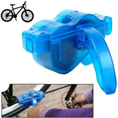 [$1.92] Bicycle Chain Cleaner Cycling Bike Machine Brushes Scrubber Wash Tool Kit Mountaineer Bicycle Chain Cleaner Tool Kits(Blue)