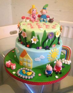 Peppa Pig/Ben and Holly. I designed this cake for a very special little lady :D Pig Birthday Cakes, Girl 2nd Birthday, Fairy Birthday Party, Birthday Ideas, Diy Cake Topper, Cake Toppers, Ben And Holly Cake, Baby Kind, Girl Cakes