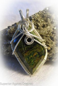 Green Serpentine Gem Stone Wire Wrapped Pendant by superioragates, $35.00