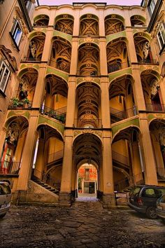 Palace of the Spanish, Naples, Italy. How did I miss this when I was in Napoli? Positano, Italy Vacation, Italy Travel, Beautiful Buildings, Beautiful Places, Places To Travel, Places To See, Travel Destinations, Vacation Places