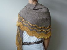 grellow - made using the Whippoorwill shawl pattern by Carina Spencer