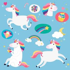 Set of magical unicorn stickers vector Magical Unicorn, Cute Unicorn, Cute Backgrounds, Wallpaper Backgrounds, Mood And Tone, Unicorn Stickers, Vector Design, Free Design, Character Design