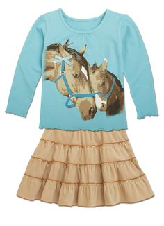 Horse Tee and Tiered Skirt Set from CWDkids