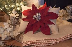 60 Oatmeal burlap Christmas tree skirt with by TheBurlapCottage, $85.00