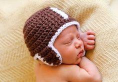Hat CROCHET PATTERN Football Baby Girl Boy in 5 by TooCuteCrochet, $3.99