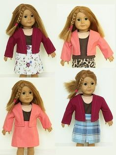 18 inch doll clothes sewing patterns to download - easy Jacket & Skirt $4.99