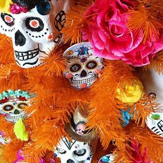 The amazing @cathiefilian worked some serious #diadelosmuertos magic on her orange @treetopia tree. Don't forget to check the #treetopia FB page for a chance to win your own set of trees.