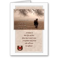 Everything Horse and Pony: Pet Sympathy Loss of a Horse Cards