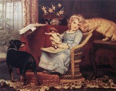 Charles Burton Barber (Inglaterra, 1845-1894). Playing with Dog and Cat.