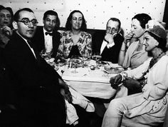 Marie-Laure de Noailles with Coco Chanel, Igor Stravinsky, and others at Paris, Cafe de Flore, 1930's