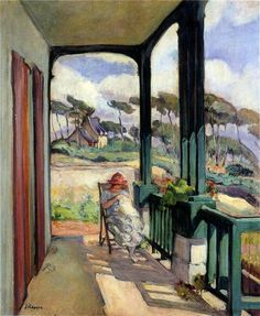 Sewing on the Terrace at Morgat  Henri Lebasque (1865 - 1937)