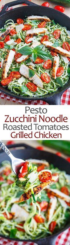 Pesto Zucchini Noodles with Roasted Tomatoes and Grilled Chicken. I love the fresh ingredients in this. I always make a large batch of pesto and freeze it for dishes like this....delicious! http://www.capecodrelo.com
