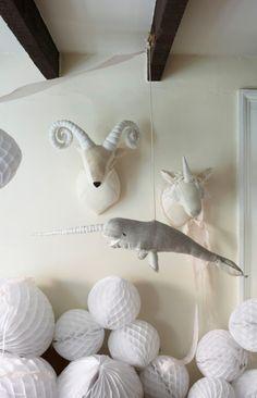 stuffed ram, unicorn, and norwhal via oneseventytwoseven onTumblr