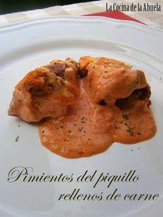 Pimientos del Piquillo rellenos de Carne. Receta paso a paso, receta sencilla, cocina tradicional. Pimientos.