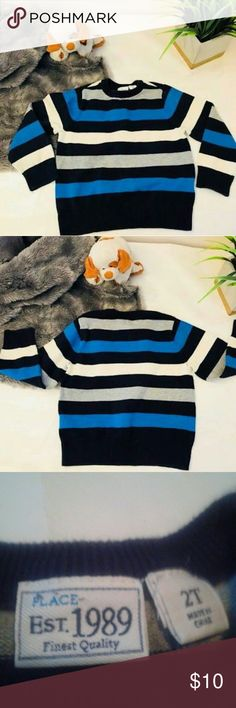 Toddler Boy Blue Striped Sweater- Size 2T Toddler Boy Blue Striped Sweater- Size 2T   Can be worn with jeans, khakis or dress pants. Looks fantastic with button up shirt underneath.   Note : No trades, shipped from smokefree home The Children's Place Shirts & Tops Sweaters