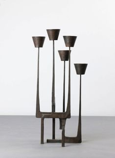 Anonymous; Patinated Bronze Candle Holder, 1950s.