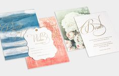 Custom Invitation Suite / Vintage Blue / Coral / Blush / Gold Foil / Garden Party / Vintage Florals / Watercolor / Laser Cut Gold Leather and Suede Wrap / Bliss & Bone