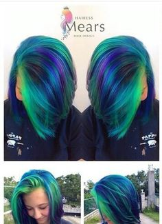 green blue dyed hair color with highlights @hairessmears