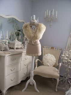 dress form Make into cool vintage lamp for Mia's room by adding cool lace lamp shade trimmed with eyelash fringe