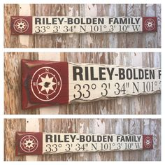 Custom GPS Coordinates With Family Name Sign.-Custom GPS Coordinates With Family Name Sign. Vintage Wood Signs, Rustic Wood Signs, Distressed Signs, Family Name Signs, Rustic Style, Decoration, Projects To Try, Beach House, Handmade