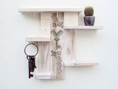 Shelf Key Holder Organizer Cross Stitch Decor Whitewashed Upcycled Wood. €42.50