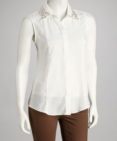 Take a look at this White Studded Sleeveless Button-Up by Grifflin Paris on #zulily today! $22.99, regular 42.00