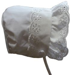N'ice Caps Baby Girl Closed Back Bonnet with Piping (6 months), White