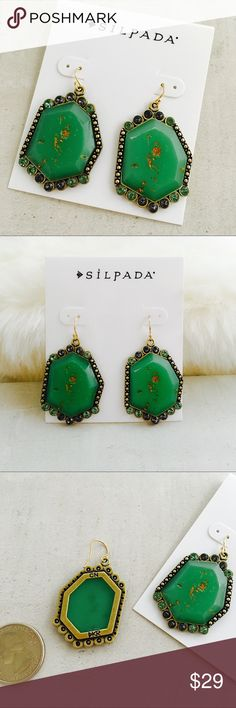 SILPADA Retired Botanical Earrings French wire drop earrings, brass, resin and Swarovski crystals, they are 2 inches long.  In new condition. Silpada Jewelry Earrings