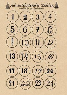 Das Adventskalender Rundum Sorglos Paket mit Zahlen zum Ausdrucken in schwarz und natur, Vorlage für Mini Milchtüten - kostenlos - Freebie - Download